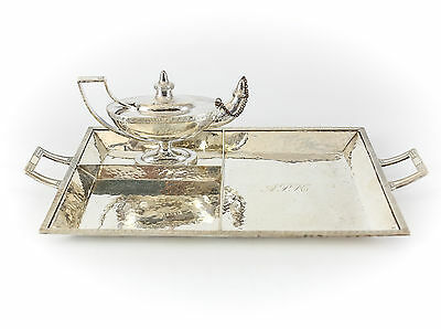 2pc Marcus & Co. Sterling Silver Smoking Set, c1920 Oil Lamp, Cigar Tray / Rest