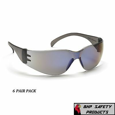 (6 Pair) Pyramex Intruder Safety Glasses Blue Mirror Lens Sunglasses S4175S