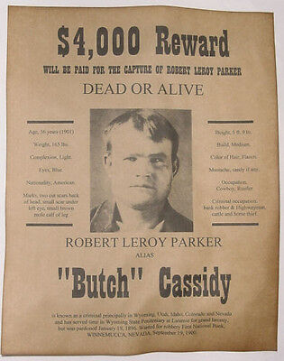 Butch Cassidy Wanted Poster, Western, Outlaw, Old West