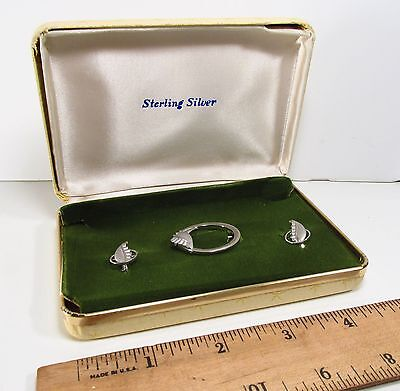 Vtg 1960s DCE Curtis Jewelry Mfg Co Sterling Silver Floral Earrings & Brooch Set
