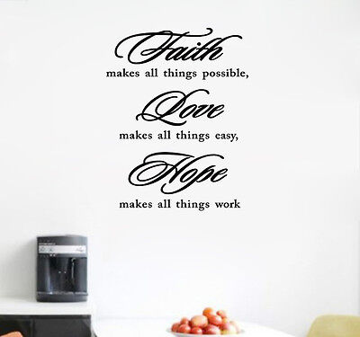 FAITH MAKES ALL THINGS POSSIBLE, wall stickers home art decor wall art