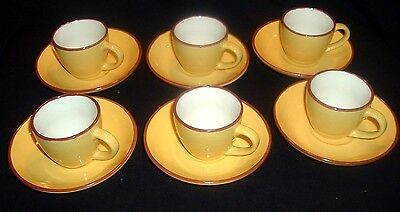 "CLASSIC IMUSA FINE ITALIAN POTTERY, DEMI-TASSE CPS & SAUCERS (SET 6) ""EXCELLENT"""