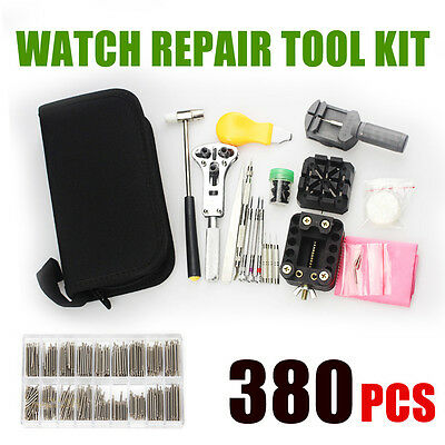 380×Watch Watchmaker Repair Tool Kit Back Case Opener Remover Spring Pin Bars AU
