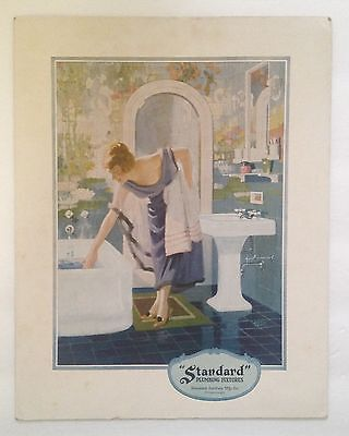 "1920s Cardboard Advertising Sign for ""Standard"" Plumbing Fixtures w/ lady & tub"