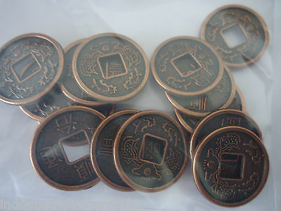 15 Pcs Chinese Antique Copper Plated Fortune Coins/I Ching/phoenix/Dragons 17mm