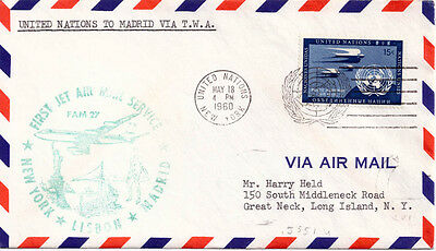 1960 - First Flight Twa. Fam 27. New York - Lisboa - Madrid
