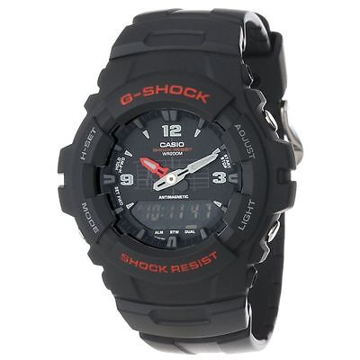 Casio G-Shock Mens Black Combi Resin Strap Watch G-100-1BVMUR G100-1BV G-100-1