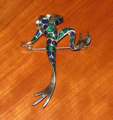 Vintage Boucher Blue and Green Enamal Frog Brooch Gold Tone #1989B
