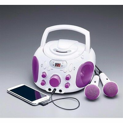 Purple And White Karaoke Machine Portable CD Player System Microphone