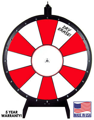 30 Inch Red and White Portable Dry Erase Spinning Prize Wheel