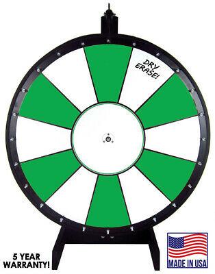 30 Inch Green and White Portable Dry Erase Spinning Prize Wheel