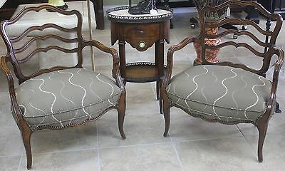 Pair Antique French Fruitwood side chairs.