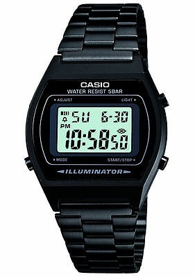 Mens Casio Retro Illuminator Digital Stainless Steel Watch Black B640WB-1AEF New