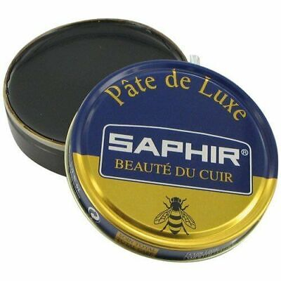 Black Saphir Shoe Polish Pate de Luxe 50ml Tin - Made in France - Blue Line
