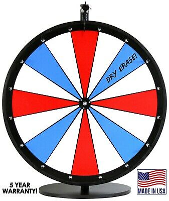 "18"" Red, White and Blue Dry Erase Spinning Prize Wheel--16 dry erase sections"