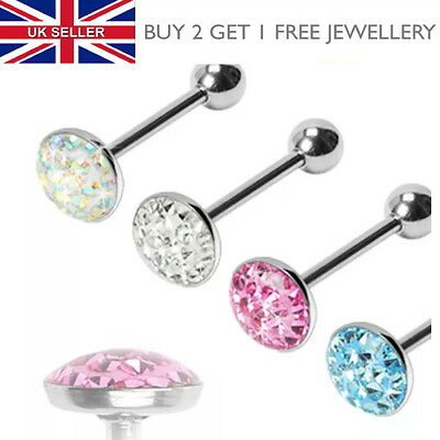 Surgical Steel Dome Crystal Gem Paved Smooth Epoxy Coated Tongue Bar - UK SELLER