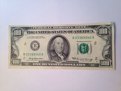 Old 1969 One Hundred Dollar $100 Bill Federal Reserve Note B Series New York, NY