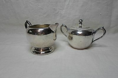 Vintage Silver over Copper Sugar bowl w/lid and Creamer F.B. Rogers Silver Co.