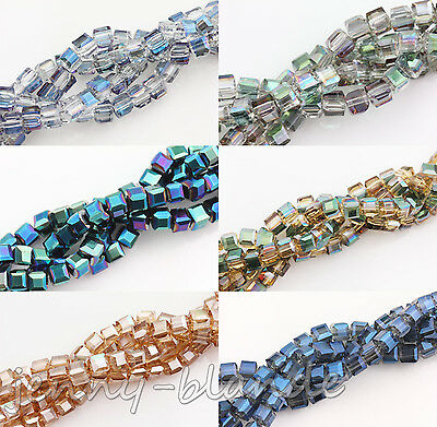 50/100pcs Faceted Cube Glass Crystal Charm Finding Loose Spacer Bead DIY Decor