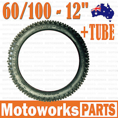 "2.50 - 12 60/100 - 12"" inch Front Rear Knobby Tyre Tire + Tube PIT PRO Dirt Bike"