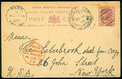GOLD COAST : 1899 Post Card to USA with nice markings.