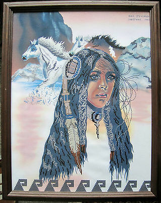 """Vintage Completed Framed 14"""" x 18"""" Cross Stitch """"Indian Maiden"""" Horses Southwest"""
