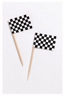 Chequered Flag | Racing | Wooden | Cake | Cupcake Party Flag Picks 50-250pk