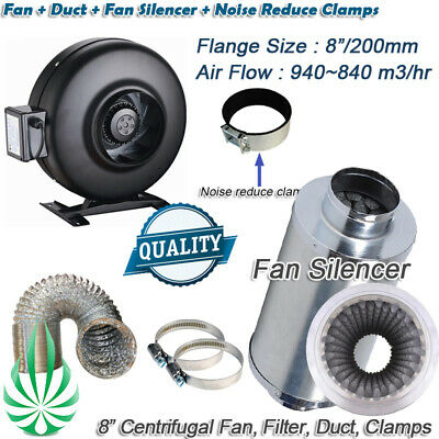 """8"""" Inline Exhaust Duct Fan & Silencer & Ducting Ventilation Kit 4 Growroom Setup"""