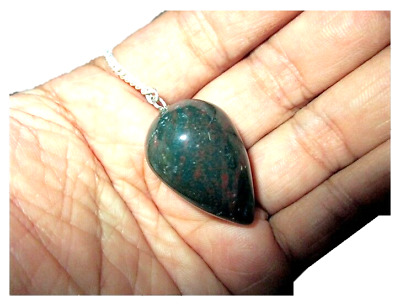 New Bloodstone Drops Shaped Pendulum Dowsing Genuine Aura Gift Metaphysical A++
