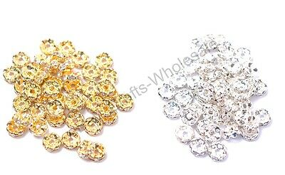 100pcs GOLD & SILVER & Czech Crystal Rhinestone Rondelle Spacer 4/6/8/10MM