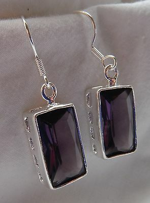 Purple Amethyst Rectangle Sterling Silver Earrings - BRAND NEW STOCK!