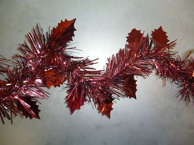 2.4 Metre Length (8FT) Holly Leaf Tinsel Garland In Dark Red/ Burgundy (PM33)