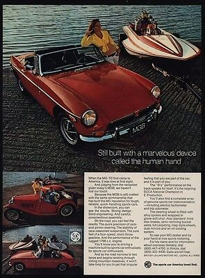 1973 MGB Convertible Red Sports Car - Speed Boat - Sexy Woman - VINTAGE AD