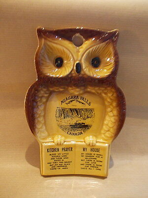 Vintage ceramic owl with Kitchen prayer - made in Japan - Niagara Falls Canada
