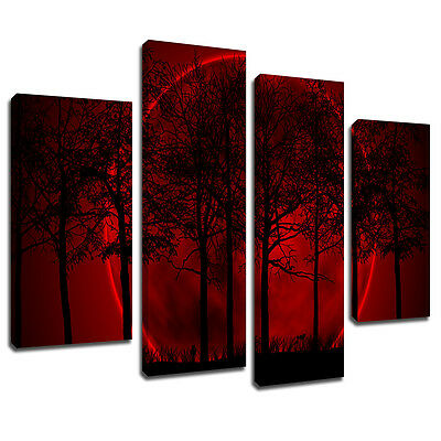 MSC111 Red Blood Moon Canvas Wall Art Multi Panel Split Picture Print
