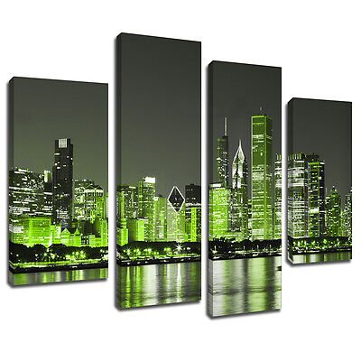 MSC345 Green New York City Canvas Wall Art Multi Panel Split Picture Print