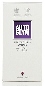 Autoglym Car Wash & Valet Safe Removal Bird Dropping Poo Cleaning Wipes - NEW!