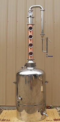 53 Gallon Moonshine Still with 4 Plate Copper Reflux Column, Vodka, E-85 Ethanol