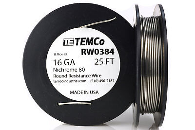 TEMCo Nichrome 80 series wire 16 Gauge 25 FT Resistance AWG ga