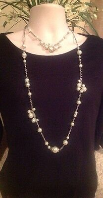 BEAUTIFUL WHITE HOUSE BLACK MARKET CONVERTIBLE 2-IN-1 PEARL BEAD NECKLACE NWOT