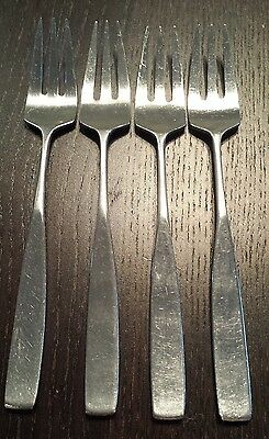 Lauffer Bedford Holland -4 Salad Forks - Mid Century Modern Stainless Steel