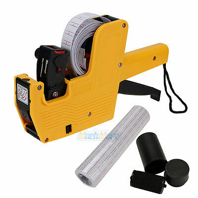 MX-5500 8 Digits Price Tag Gun + 5000 White w/ Red Lines Labels + 1 Ink Yellow