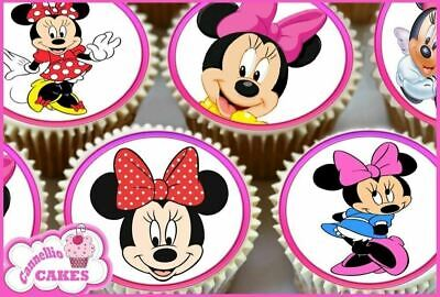 24 X  Minnie Mouse Edible Cupcake Toppers Cake Wafer Rice Paper 0241