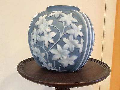 PHOENIX SCULPTURED ARTWARE BLUE AND WHITE VASE WITH LABEL