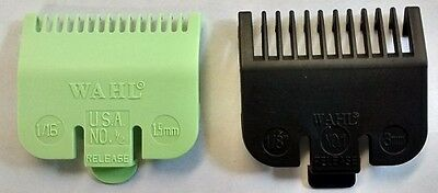 WAHL Clipper Attachment Combs x 2 - Size 0.5 Lime (1.5mm) + Size 1 Black (3mm)