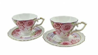 Fine Bone China Pink Rose 2 cups and 2 saucers set