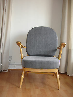 Slate grey stonewash cushions and covers only for Ercol armchair 203