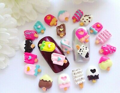 "10 or 20pc x 3D Resin Nail Art ""Ice Cream Lolly Lollipops Twists Mix"" Nail Craft"