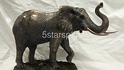 NEW WildLife Elephant With Raised Trunk Statue Figures Sculpture Bronze Finish