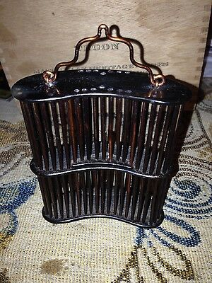 Vintage Authentic Chinese Bamboo Cricket Cage Handmade Carved